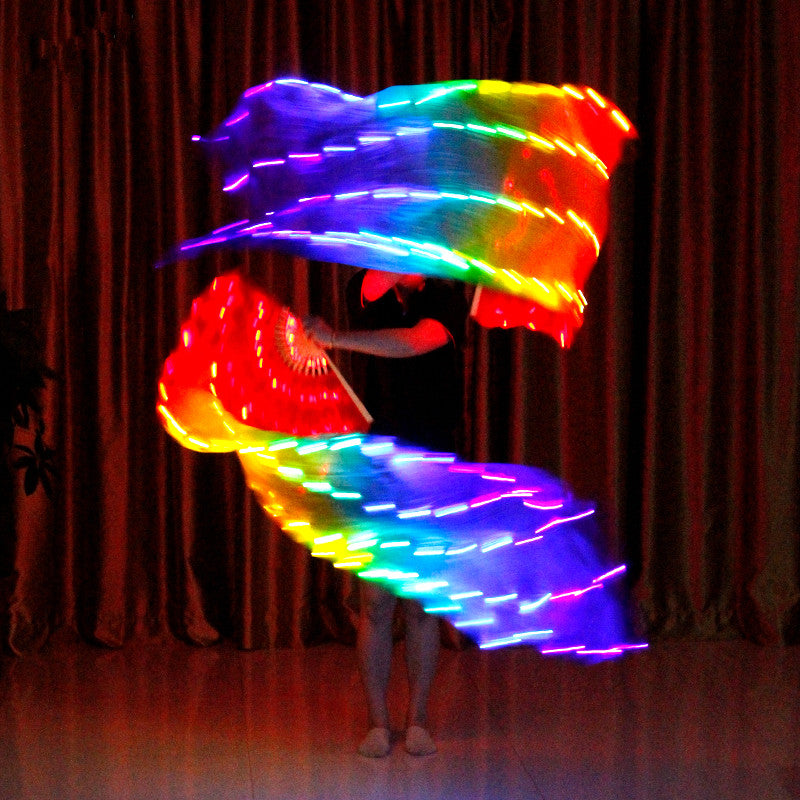 Belly Dance Silk Fan Veil LED Fans Light Up Shiny Pleated Carnival LED Fans Stage Performance Props Accessories Costume