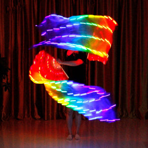 LED Belly Dance Silk Fan Veil Stage Performance Accessories Prop Light Bellydance LED Fans Shiny Rainbow