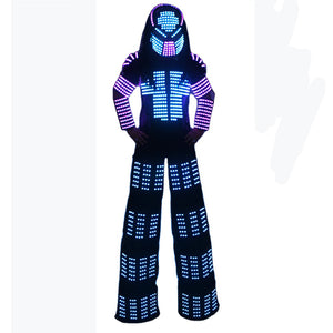 David Guetta LED Robot Suit Clothes Stilts Walker Costume Helmet Laser Gloves CO2 Jet Mach
