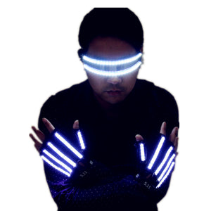 Bright LED Stage Costumes LED Gloves  Luminous Glasses  Laser Stage Props Party Supplies