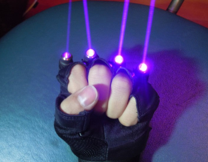 Violet Blue Laser Gloves with 4pcs 405nm Laser Stage Gloves for DJ Club Party Show