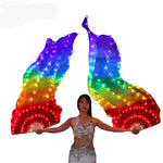 Carica l'immagine nel visualizzatore di Gallery, Belly Dance Silk Fan Veil LED Fans Light Up Shiny Pleated Carnival LED Fans Stage Performance Props Accessories Costume