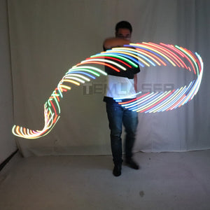 LED Rhythmic Gymnastics Ribbon Colorful Luminous Gym Ribbons Dance Rgb Glow Led Poi Ribbon For Belly Dance Hand Props