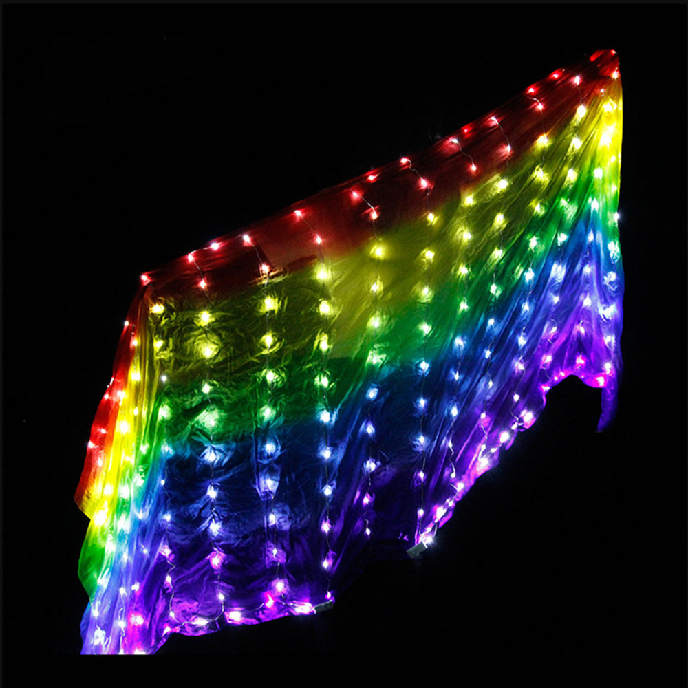 Belly Dance LED Veils Light Silk Performance Props Accessories Rainbow Colored Rectangle LED Veil Silk