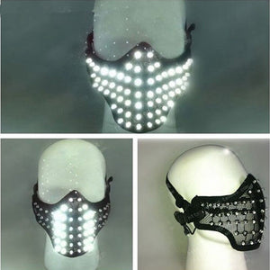 Masques lumineux rougeoyants Hero Face Guard PVC Masquerade Party Halloween Birthday Masques LED