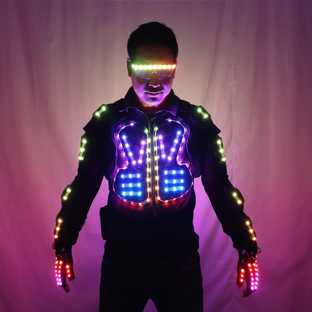 Full Color LED Luminous Armor Light Up Jacket Glowing Costumes Suit