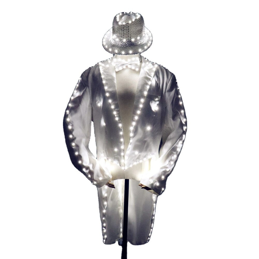 Fashion Swallowtail LED Tuxedo Luminous Costumes Glowing vestidos LED Clothing Show Men LED Clothes Dance Accessories