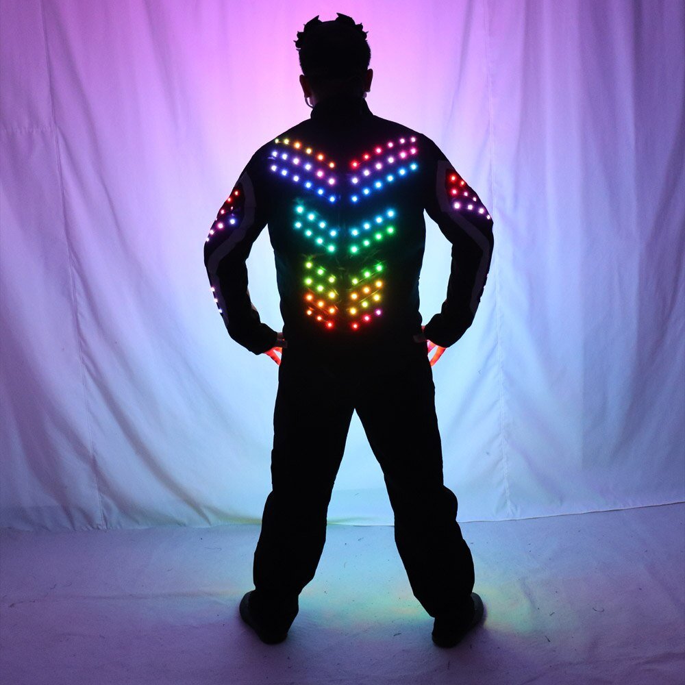 Digital LED Luminous Armor Light Up Jacket Glowing Costumes Suit Bar Party Costume