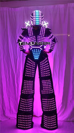 Cargar imagen en el visor de la galería, Traje de Robot LED Laser Suit Costume Clothing used with High Heel Predator led Costume Laser Gloves