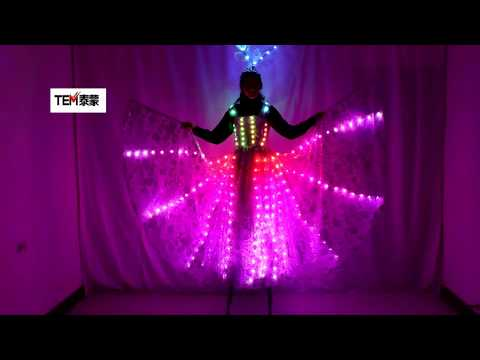 New Ful Color Pixel LED Skirt Dreamy Luminous Wedding Dress LED Color Wings Pettiskirt for Stage Performances
