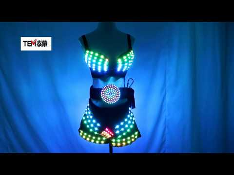 Full Color Led Luminous Light Party Skirt Sexy Girl Led Light Up Costumes