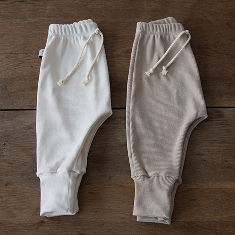 Rib Basic Pants Ecru