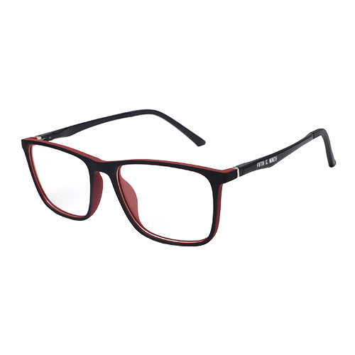 red and black rectangular computer glasses