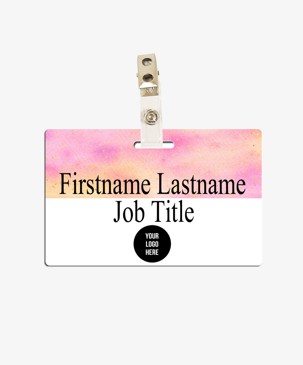 Pink and Orange Name Badge - BadgeSmith