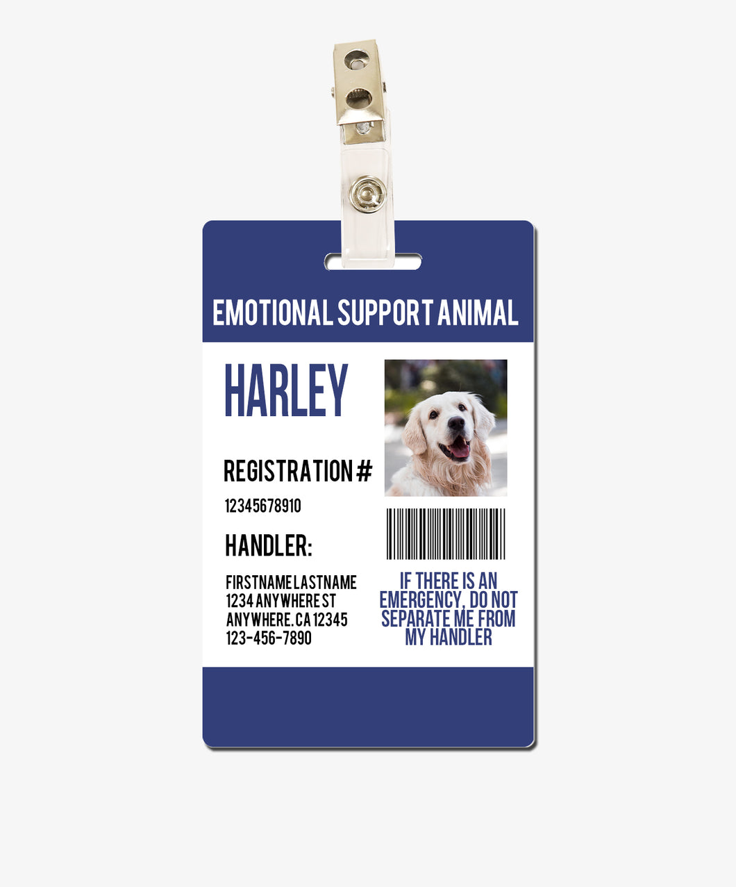Blue Emotional Support Animal Badge - BadgeSmith