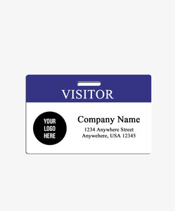 Blue Visitor Badge with Logo - BadgeSmith