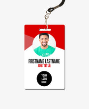 Load image into Gallery viewer, Red Geometric ID Badge - BadgeSmith