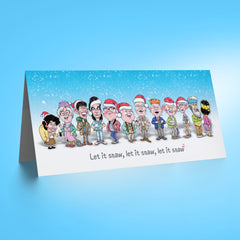 Auld Pals Whole Gang - Blue DL Christmas Card