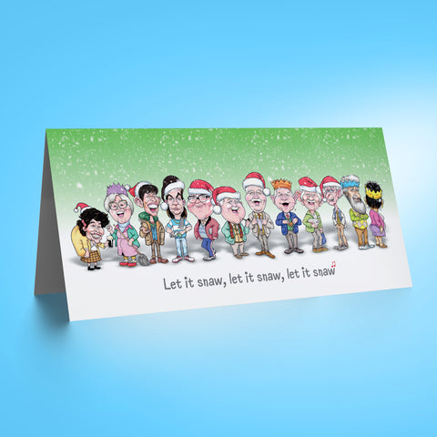 Auld Pals Whole Gang - Green DL Christmas Card