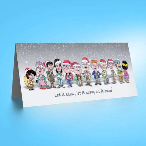 Auld Pals Whole Gang - Grey DL Christmas Card