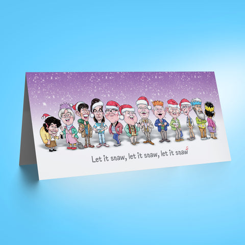 Auld Pals Whole Gang - Purple DL Christmas Card