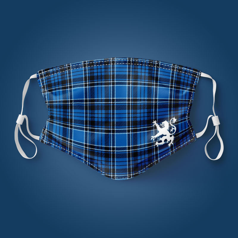 Blue Tartan With Rampant Lion - Face Mask