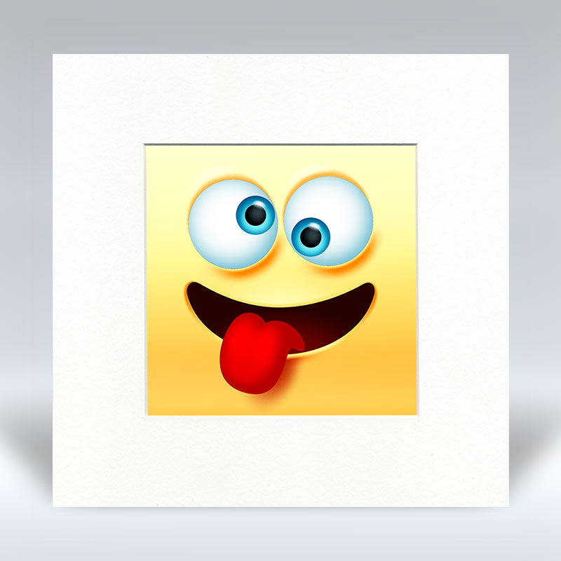 Crazy Emoji - Mounted Print