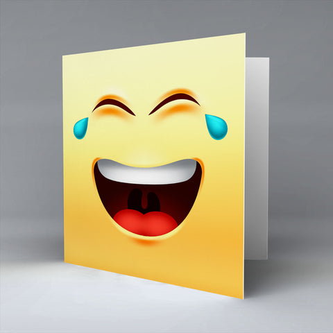 Crying Laugh Emoji - Greetings Card