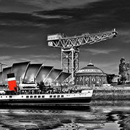 Glasgow, A day in the city - Black and White - Greetings Card