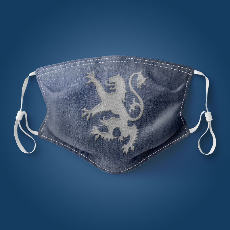 Denim Rampant Lion - Face Mask