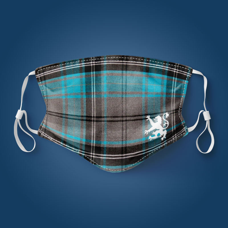 Grey & Blue Tartan - Face Mask