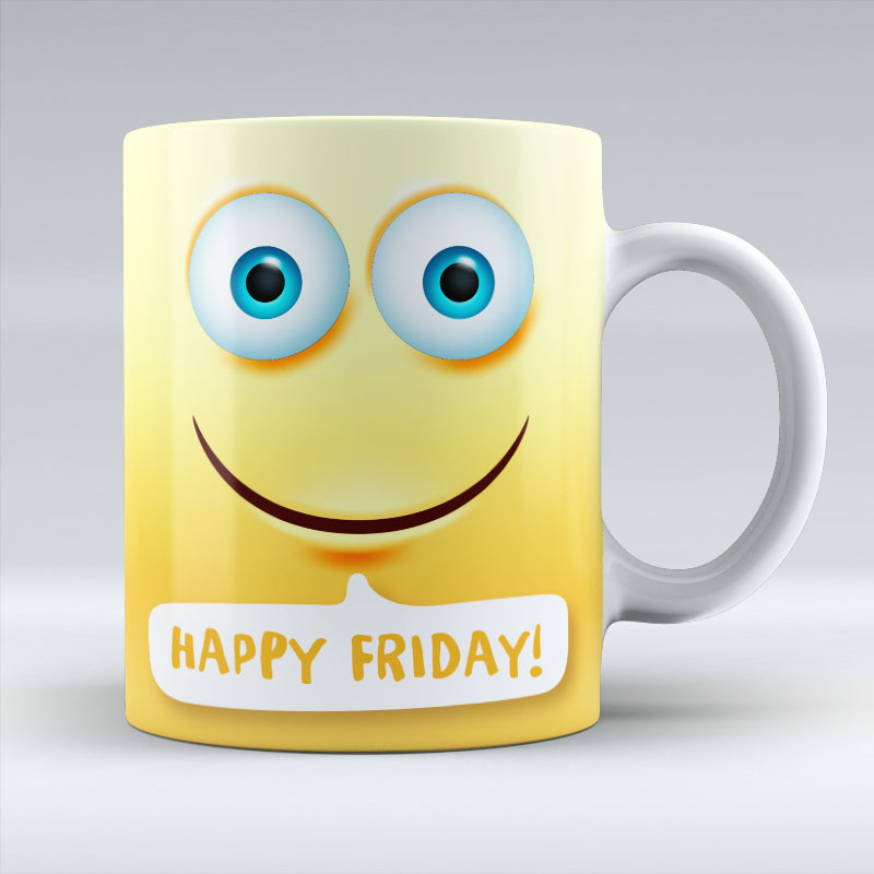 Happy Friday Emoji Text - Mug