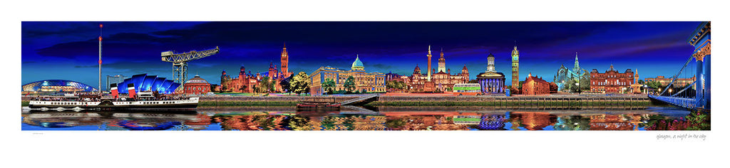 Glasgow, A night in the city - Greetings Card