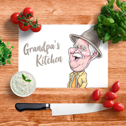 Platinum Grandpa's Kitchen In Your Face Glass Chopping Board