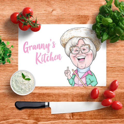 Platinum Granny's Kitchen In Your Face Glass Chopping Board