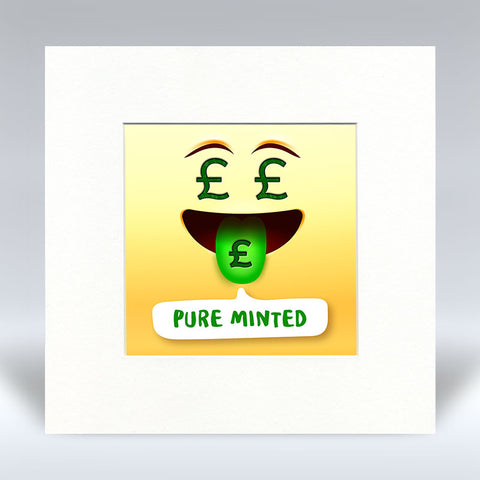 Pure Minted Emoji Text - Mounted Print
