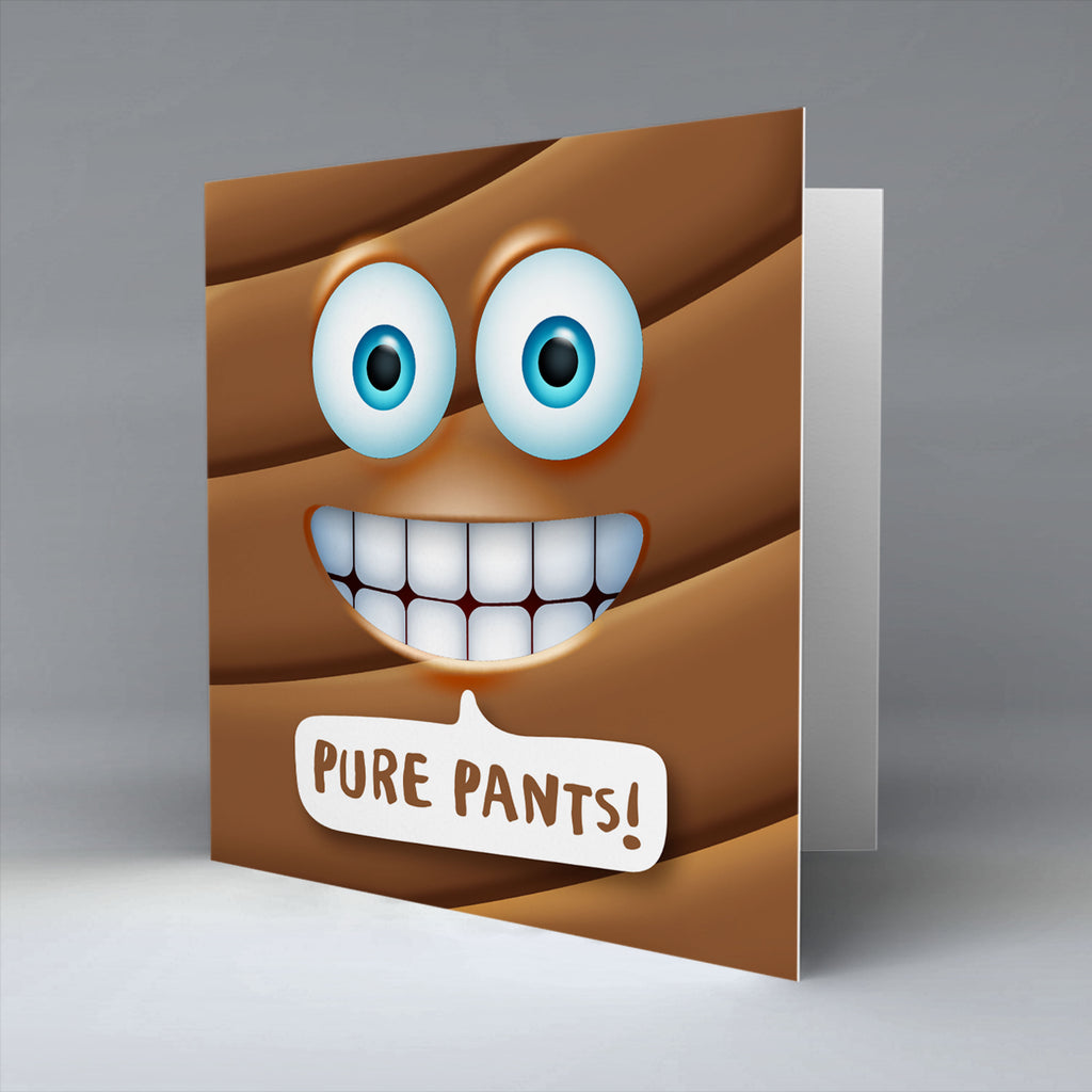 Pure Pants Emoji Text - Greetings Card
