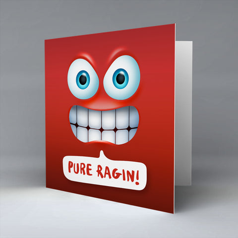 Pure Ragin Emoji Text - Greetings Card