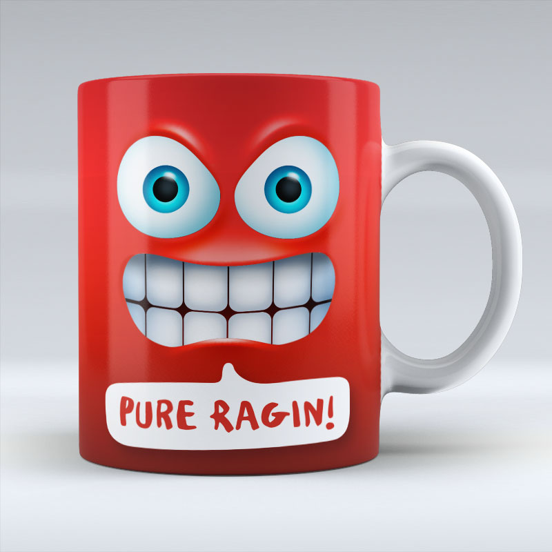 Pure Ragin Emoji Text - Mug
