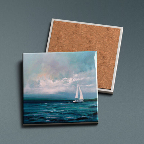 Sailing By - Ceramic Coaster
