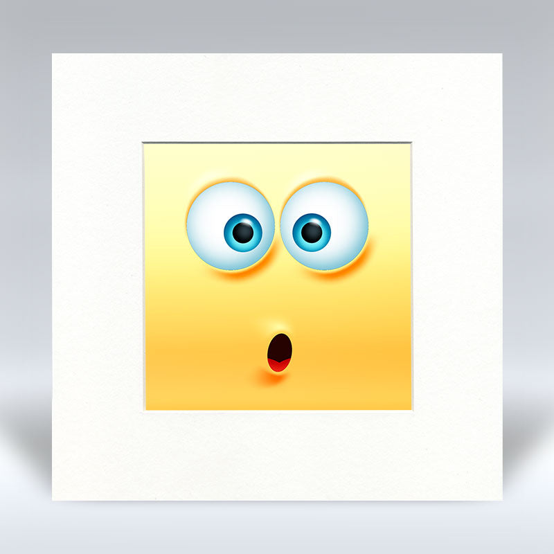 Shocked Emoji - Mounted Print
