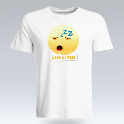 Need Coffee Emoji Text - T-Shirt