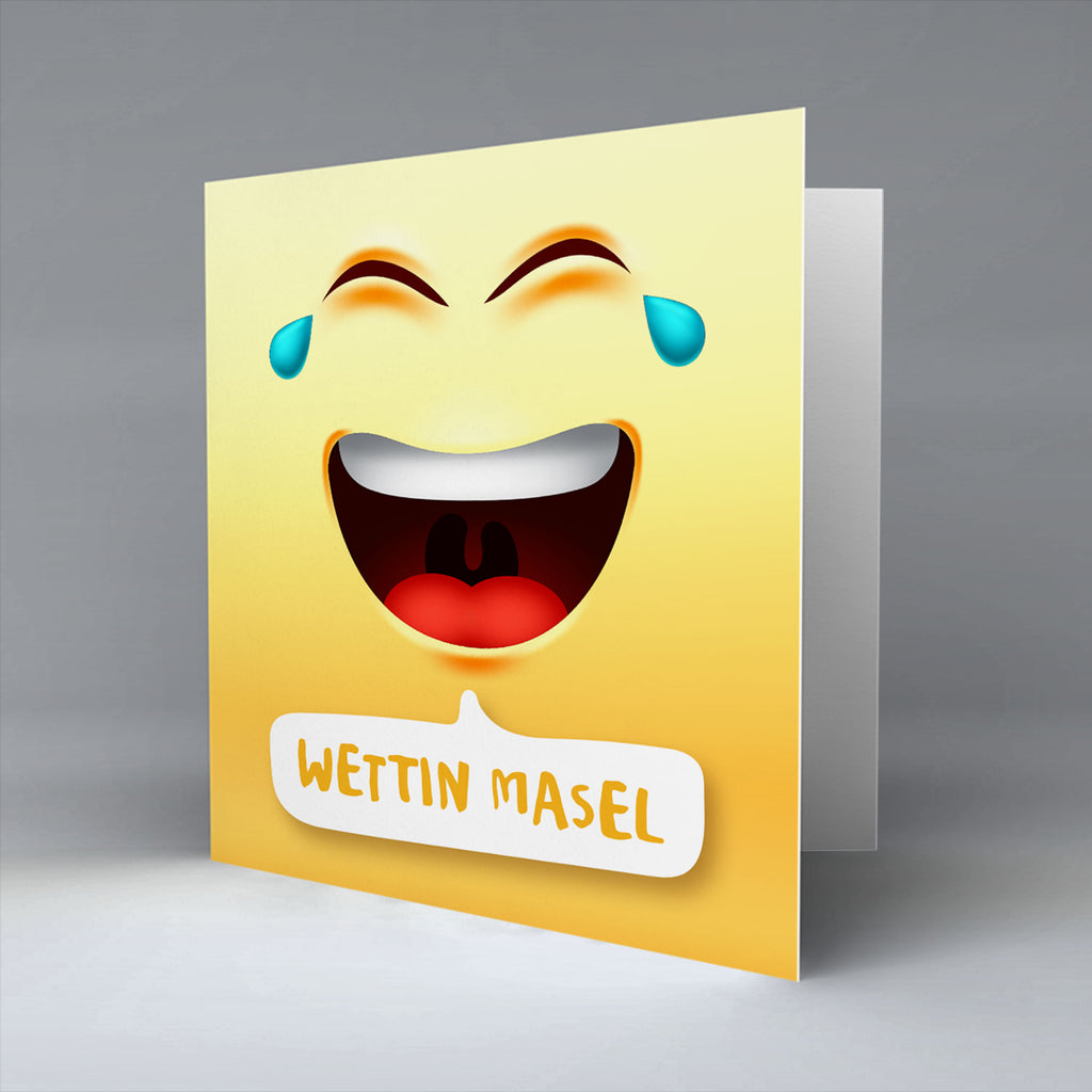 Wettin Masel Emoji Text - Greetings Card