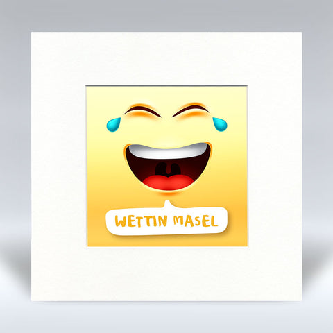 Wettin Masal Emoji Text - Mounted Print