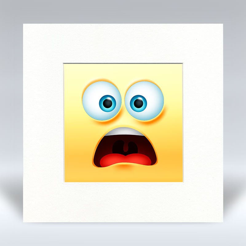 Worried Emoji - Mounted Print