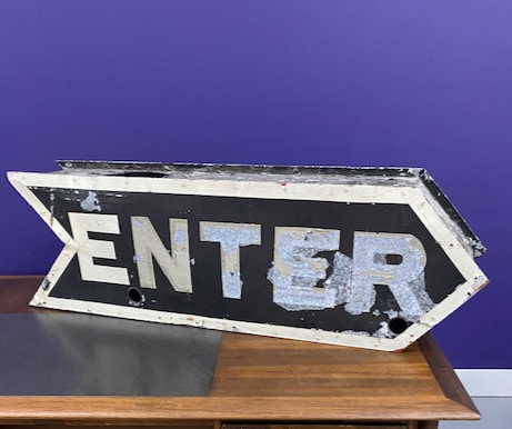Vintage Enter Metal Sign