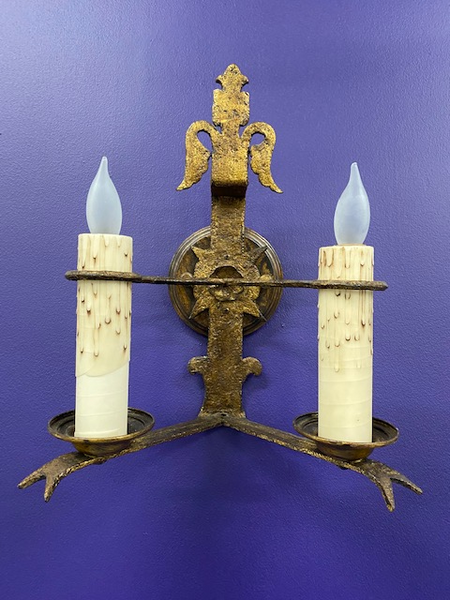 Hand-Wrought Iron French Sconce