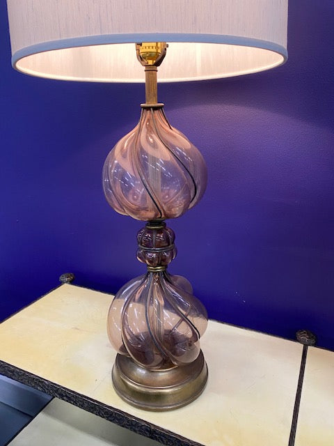 Spanish Blown Rose Glass Lamp