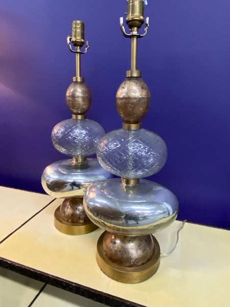 Hand Blown Globe Lamps (Pair)