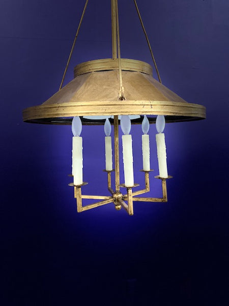 Vintage English Tole Bouillotte Shade Chandelier